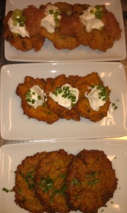 From top: Potato, Sweet Potato and Zucchini Latkes